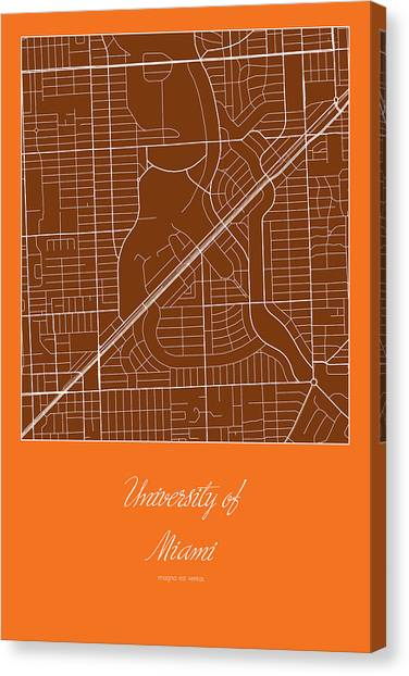 University Of Miami Canvas Print - Um Street Map - University Of Miami In Miami Map by Jurq Studio