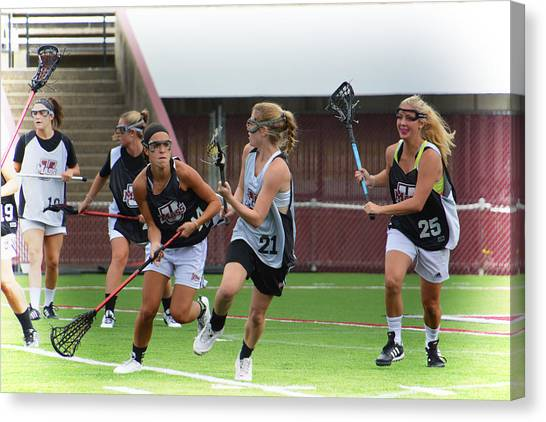 University Of Massachusetts Amherst Umass Amherst Canvas Print - Umass Lax Practice by Mike Martin