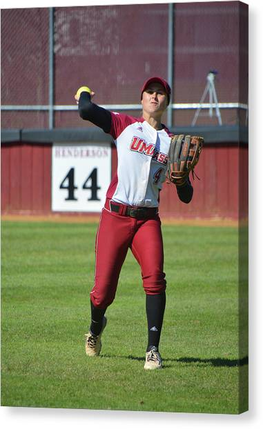 Atlantic 10 Canvas Print - Umass Outfielder 4 by Mike Martin