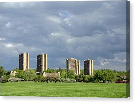 University Of Massachusetts Amherst Umass Amherst Canvas Print - Umass Southwest Towers by Donna Doherty