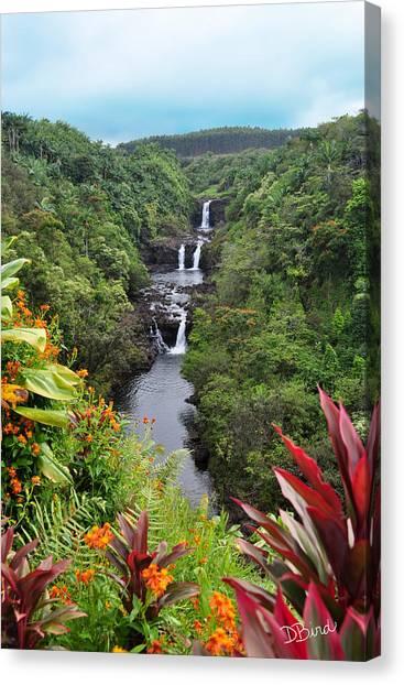 Canvas Print featuring the photograph Umauma Falls Hawaii by Denise Bird
