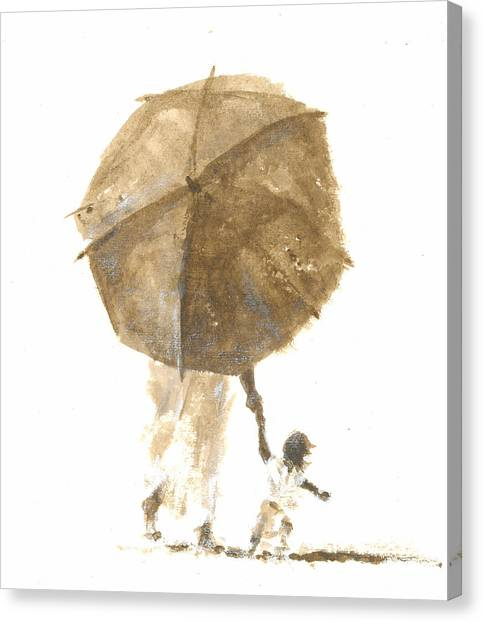 People Walking On Beach Canvas Print - Umbrella And Child One by Lincoln Seligman