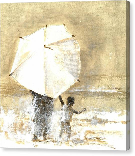People Walking On Beach Canvas Print - Umbrella And Child Two by Lincoln Seligman
