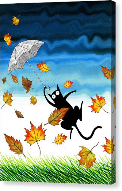 Humour Canvas Print - Umbrella by Andrew Hitchen
