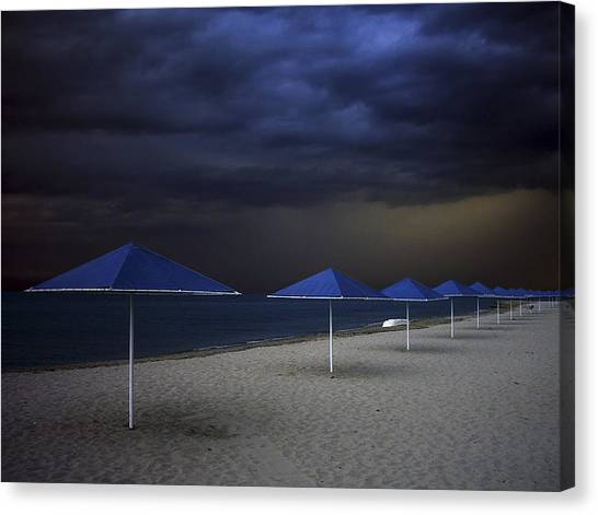 Umbrella Blues Canvas Print by Aydin Aksoy