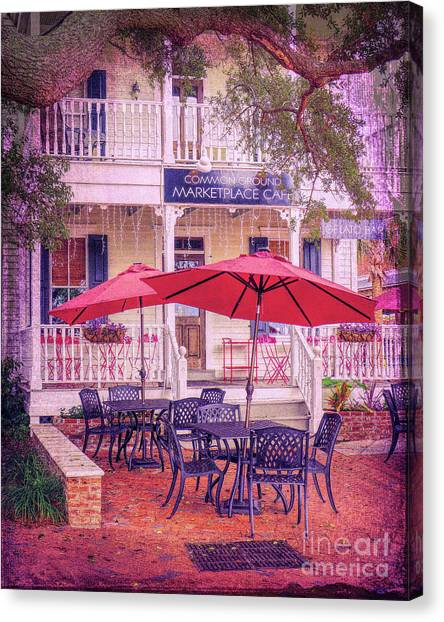 Umbrella Cafe Canvas Print