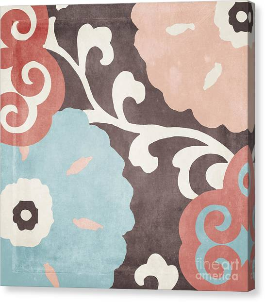 Abstract Flower Canvas Print - Umbrella Skies II Suzani Pattern by Mindy Sommers