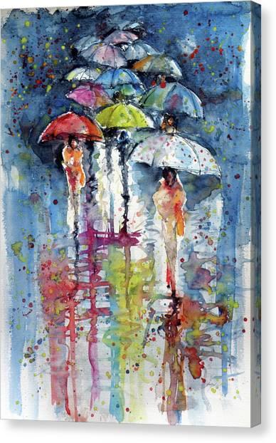 Umbrellas In Rain Canvas Print