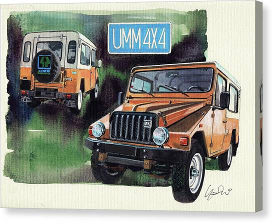 Offroading Canvas Print - Umm Cournil 4x4 by Yoshiharu Miyakawa