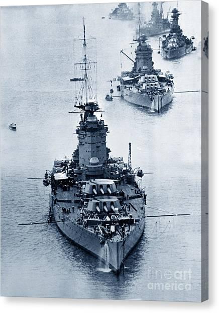 Hms Nelson And Hms Rodney Battleships And Battlecruisers Hms Hood Circa 1941 Canvas Print