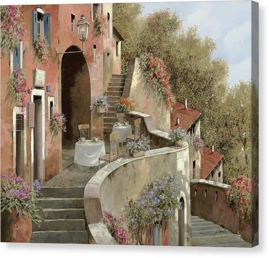 Cafes Canvas Print - Un Caffe Al Fresco Sulla Salita by Guido Borelli