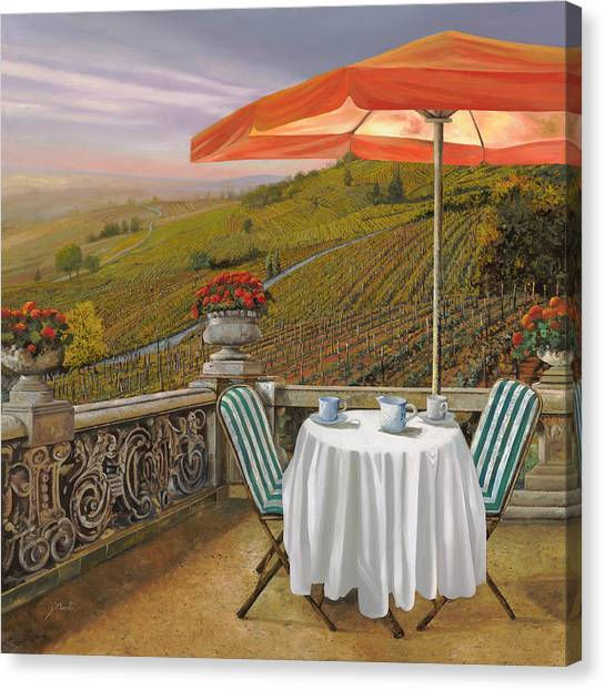 Vineyards Canvas Print - Un Caffe by Guido Borelli