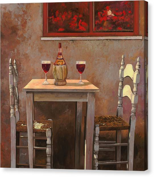 Red Wine Canvas Print - un fiasco di Chianti by Guido Borelli