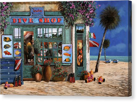Scuba Diving Canvas Print - Un Negozio Al Mare by Guido Borelli