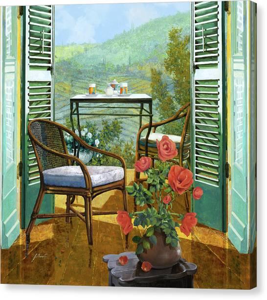 Romantic Canvas Print - Un Vaso Di Rose by Guido Borelli