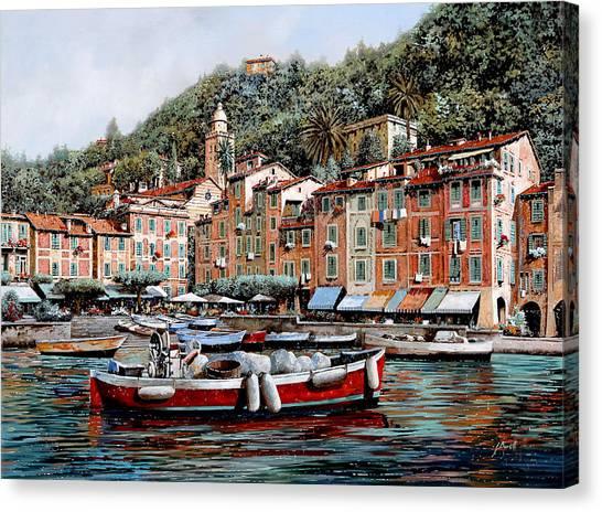 Harbour Canvas Print - Una Lunga Barca Rossa by Guido Borelli