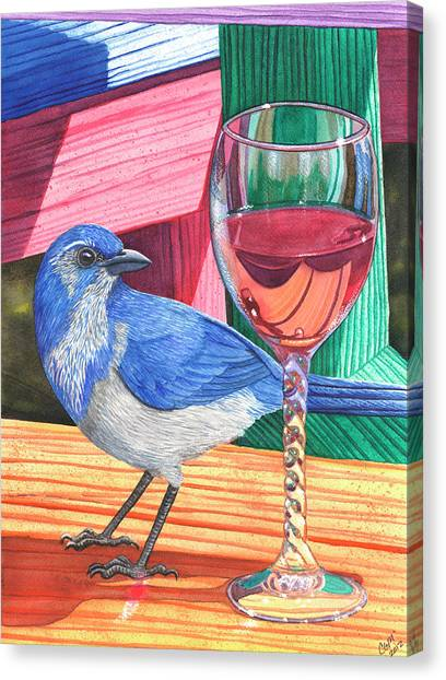 Bluejays Canvas Print - Unattended by Catherine G McElroy