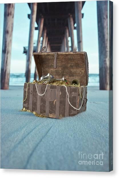 Treasure Box Canvas Print - Unburied Pirate Treasure Surreal by Edward Fielding