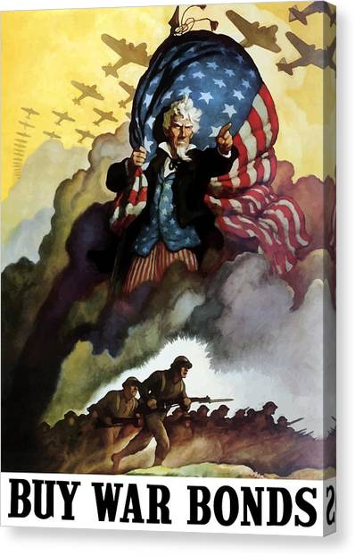 American Flag Canvas Print - Uncle Sam - Buy War Bonds by War Is Hell Store
