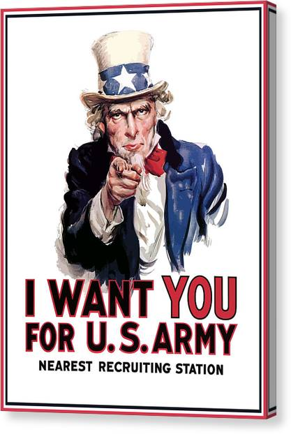 American Canvas Print - Uncle Sam -- I Want You by War Is Hell Store