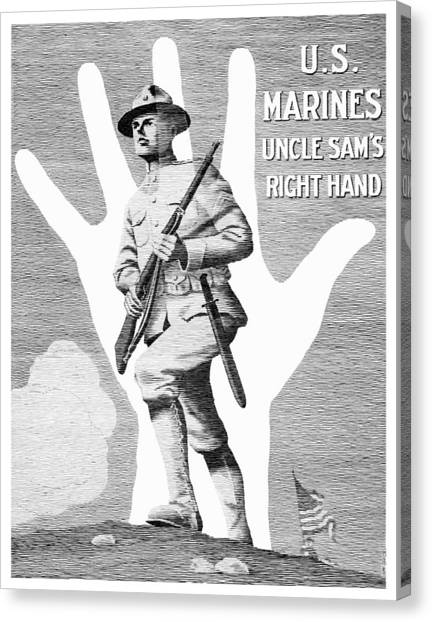 Marines Canvas Print - Uncle Sam's Right Hand - Us Marines by War Is Hell Store