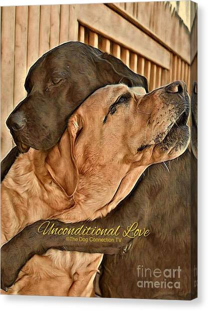 Canvas Print featuring the digital art Unconditional Love by Kathy Tarochione