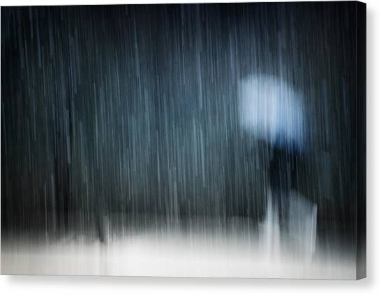 Street Canvas Print - Under A Heavy Snowfall by Antonio Grambone