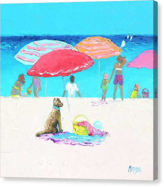 Under A Red Umbrella Canvas Print