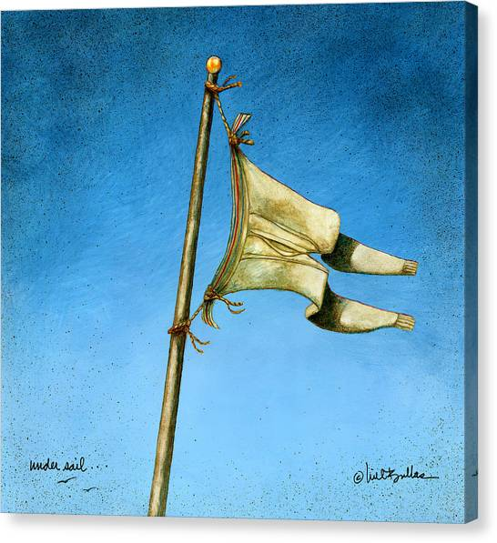 Flagpole Canvas Print - Under Sail... by Will Bullas