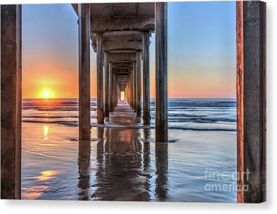 Under Scripps Pier At Sunset Canvas Print