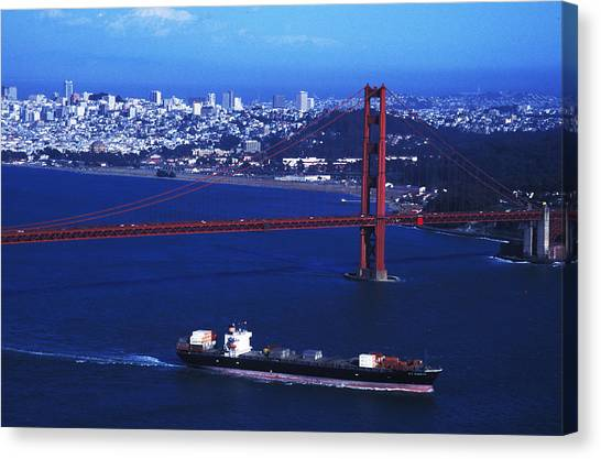 Under The Golden Gate Canvas Print by Carl Purcell
