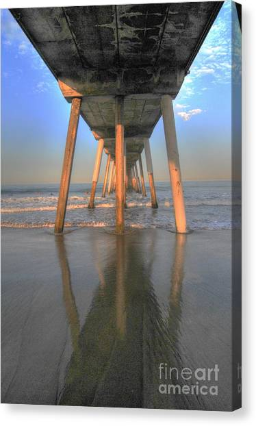 Under The Hermosa Pier Canvas Print