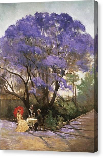 Blooming Tree Canvas Print - Under The Jacaranda 1903 by Godfrey Rivers