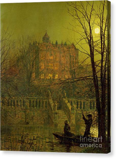 The Haunted House Canvas Print - Under The Moonbeams, 1882 by John Atkinson Grimshaw
