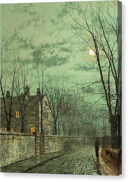 Silver Moonlight Canvas Print - Under The Moonbeams by John Atkinson Grimshaw