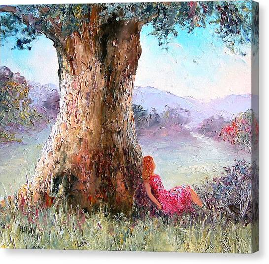 Girl In Landscape Canvas Print - Under The Old Gum Tree by Jan Matson