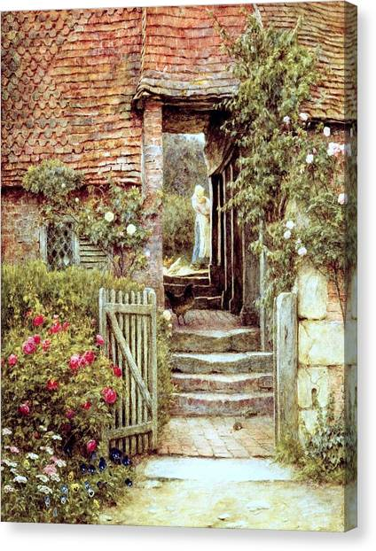 Rose In Bloom Canvas Print - Under The Old Malthouse Hambledon Surrey by Helen Allingham
