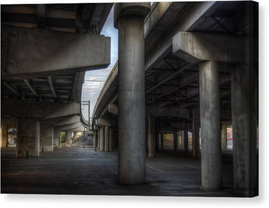 Canvas Print featuring the photograph Under The Overpass I by Break The Silhouette