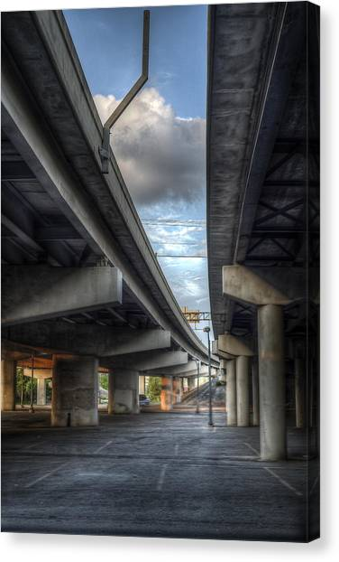 Canvas Print featuring the photograph Under The Overpass II by Break The Silhouette