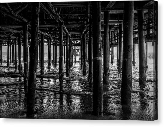 Under The Pier - Black And White Canvas Print