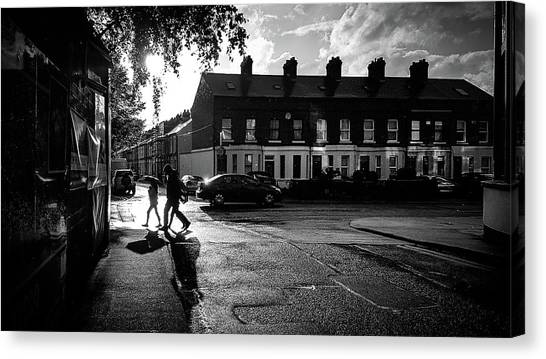 Faceless people canvas print under the rain dublin ireland black and white