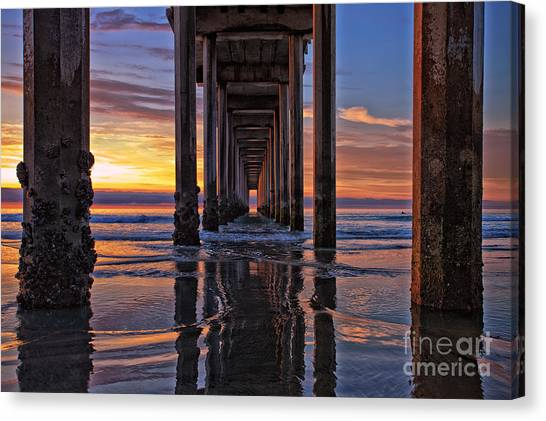 Under The Scripps Pier Canvas Print
