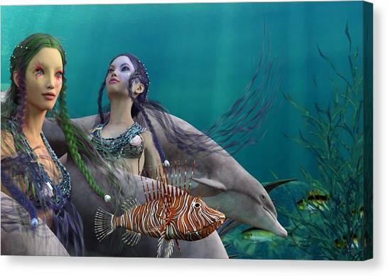 Angel Mermaids Ocean Canvas Print - Under The Sea  by Betsy Knapp