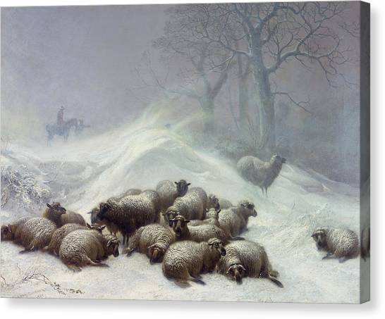 Snow Canvas Print - Under The Shelter Of The Shapeless Drift by Thomas Sidney Cooper