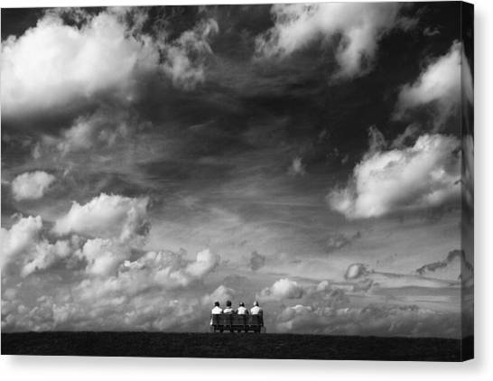 Bench Canvas Print - Under The Sky by Hans-wolfgang Hawerkamp