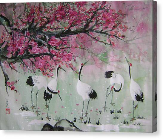 Under The Snow Plums 2 Canvas Print by Lian Zhen