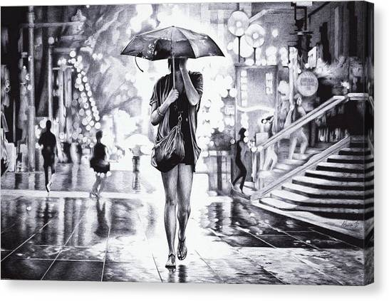 Ballpoint Pens Canvas Print - Under The Umbrella - Ballpoint Pen Art by Andrey Poletaev
