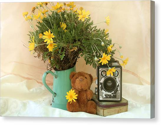 Teddy Bears Canvas Print - Under The Yellow Flower by Gert J Gagiano