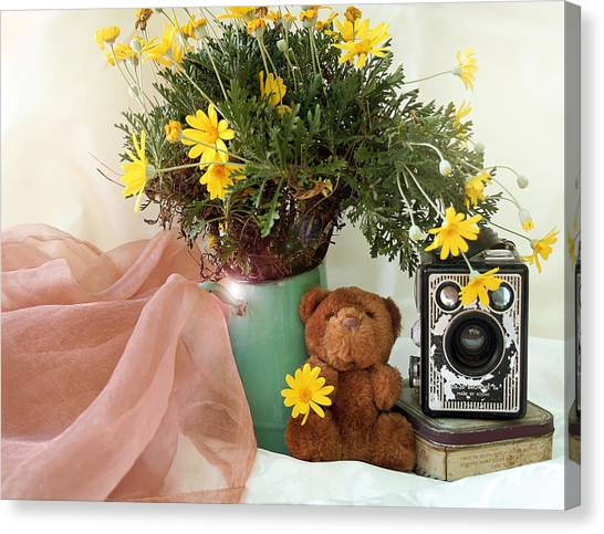 Teddy Bears Canvas Print - Under The Yellow Flower Too by Gert J Gagiano