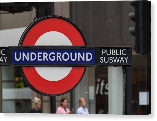 Underground Sign London Canvas Print